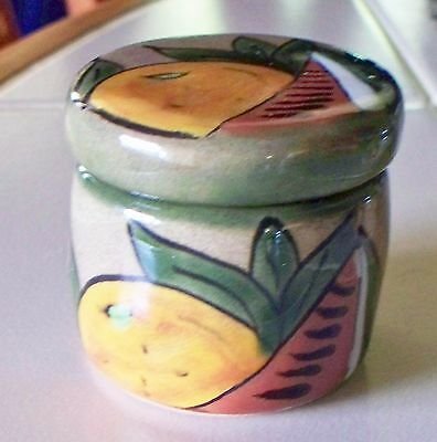New Mexican Clay Pottery Hand Painted Fruit Round Trinket Box / Candle Holder OM