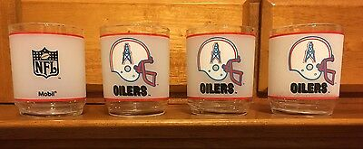 Vintage 1970s Houston Oilers Frosted NFL Mobile Glasses Lot Of 4