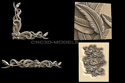3D STL Models for CNC Router Engraver Carving Artcam Aspire Flowers 1122