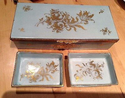 VTG ORLIK Hand-Painted FRANCE Porcelain Trinket BOX & 2 Trays–BLUE/Gold-EVC