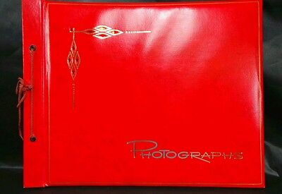 Vintage Unused Red Photo Photograph Album CRAFT Pages String-Tied Black Pages