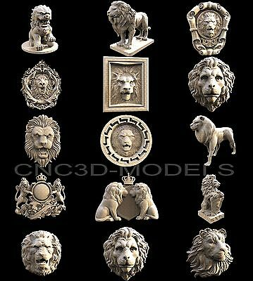 3D STL Models for CNC Router Engraver Carving Artcam Aspire Collection Lion 1161