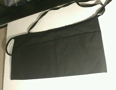 Fame Black Server Apron, 3 Pocket Waist Waiter Waitress Tip Apron Restaurant