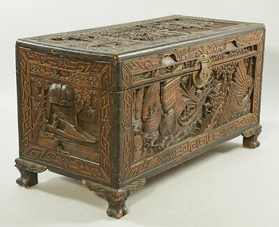Chinese Carved Camphor Chest w/ Hong Kong stamp (local pick-up ONLY)