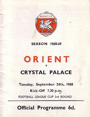 ORIENT v CRYSTAL PALACE 1968/69 LEAGUE CUP