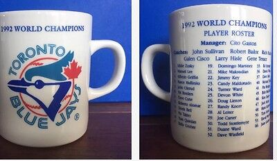 RARE Toronto Blue Jays 1992 WORLD CHAMPIONSHIPS MLB Mug With Player Roster