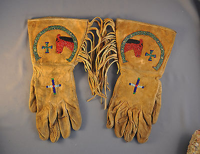Old Early Indian Pictorial Beaded Gloves W Fringe - Northern Plains Sioux Crow