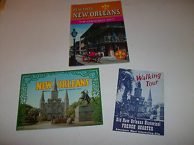 Lot of 3 New Orleans - Walking Tour Map 1960s 24pgs Travel Brochure Color