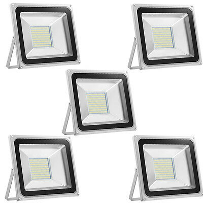 5X 100W LED Floodlights Cool White Garden Outdoor Security Floodlight Lamp 220V
