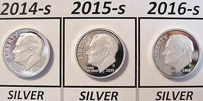 2014-s 2015-s & 2016-s Set of 3 Deep Cameo Proof SILVER Roosevelt Dimes