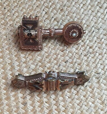LOT 2 Vintage VICTORIAN Gold Bar Pins Seed Pearl