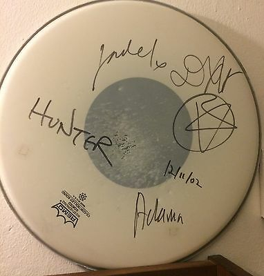 AFI (A Fire Inside) band REAL hand SIGNED drumhead by all 4 members RARE
