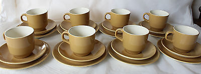 Vintage CROWN LYNN COLOUR GLAZE Set 8 TRIOS Side Plates Cups New Zealand Retro
