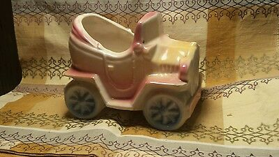 Vintage Shawnee Pottery Car Jalopy Planter marked USA 506 Yellow Blue Rose