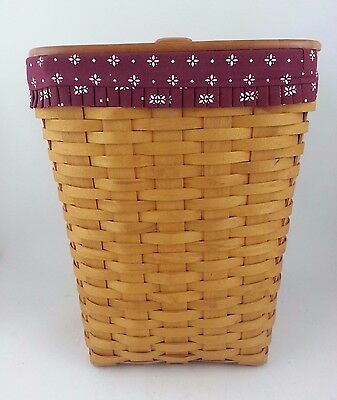 Longaberger 1998 Medium Waste Basket Combo w Lid Traditional Red Hamper