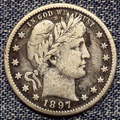 1897-O Barber Quarter VF+++ Details Coin with Full Liberty