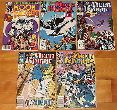 1980 MOON KNIGHT No. 1 F/VF 7.0 & 1989 MOON KNIGHT No. 1, 2, 4, 5 NM- 9.2+ NR