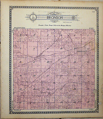 Vintage 1915 Bronson Township Plat Map~Branch County~Michigan