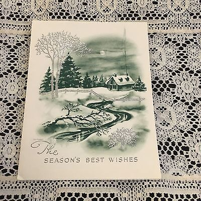 Vintage Greeting Card Christmas Green House Stream Silver Tree