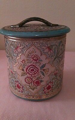 Vintage Floral Chintz Tin with Raised Florals Made in Holland