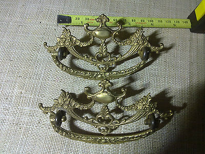 ornate brass swing handles x 2, vintage
