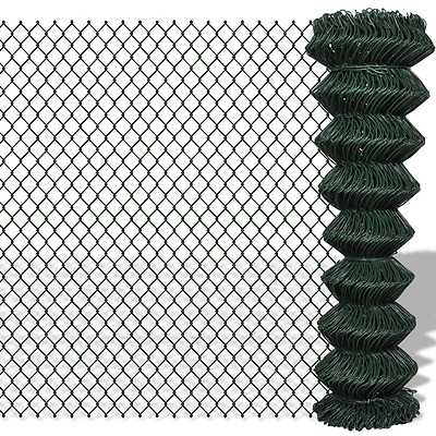 Green Galvanized Steel Mesh Wire Chain-link Fence PVC Coating 1.5x15m 60x60mm