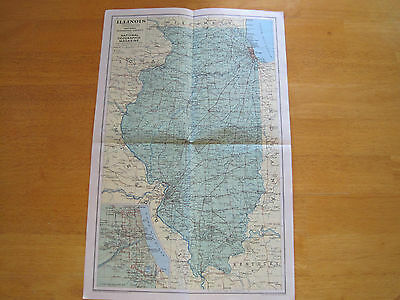1931 Map of Ilinois National Geographic Good Condition