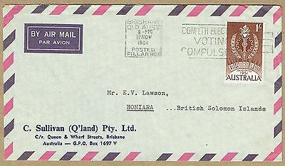 Australia 1964 airmail cover to BSI elusive solo franking 1/- Colombo Plan