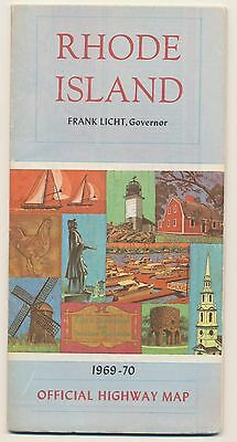 SUPERB VINTAGE 1969-70 RHODE ISLAND OFFICIAL HIGHWAY Road Map Petroliana RM26