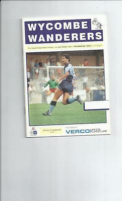 Wycombe Wanderers v Trowbridge Town FA Cup Replay Football Programme 1990/91