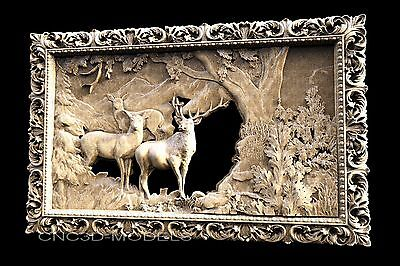 3D STL Models for CNC Router Carving Artcam Aspire Deer Hart Buck 1178