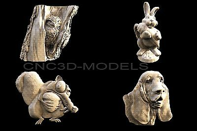 3D STL Models for CNC Router Engraver Carving Artcam Aspire Dog Owl 1191
