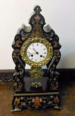 late victorian french ebony inlaid portico clock c1900s