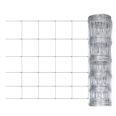 S# New Galvanized Chain Mesh Fence Post Set 0.8x50m Wire Garden Fencing Pet Chic