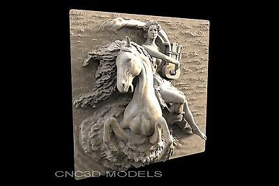 3D STL Models for CNC Router Engraver Carving Artcam Aspire Horse Girl 1231