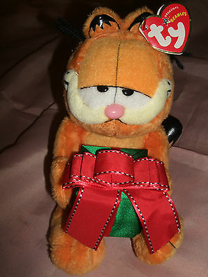 Christmas Garfield Beanie Ty Ornament Toy - New