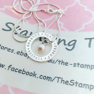 personalised hand stamped Necklace - Circle With 50CM Snake Chain And Pearl