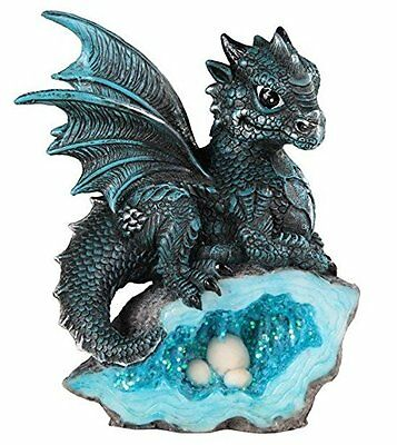 StealStreet SS-G-71581 Blue Medieval Baby Dragon with Crystal Egg Nest Figurine