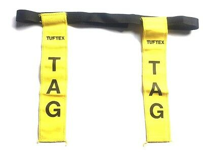 Tuftex Rugby Tag Training Belt And 2 Tags - Yellow Senior Practice- New!!