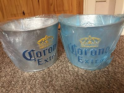 2 Galvanized Metal Corona Extra Ice Bucket Beer Ale Lager Bottle Cooler / NEW