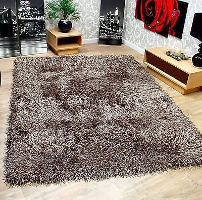 """Very Thick 9cm Soft Touch High Shaggy Rug Brown in 120 x 160 cm (4'x5'3"""") Carpet"""