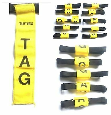 TUFTEX RUGBY TAG TRAINING BELTS + 2 TAGS SENIOR YELLOW CHOOSE 1 - 5 or 10