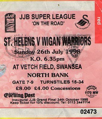 St Helens V Wigan Warriors Used Ticket 26Th July 1998 @ The Vetch Field Swansea