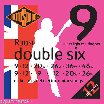 Rotosound R30SL Double Six 12 String Electric Guitar Strings 09-46 - Super Light