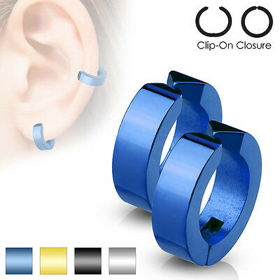 Mens Polished Surgical Steel Huggie Non Piercing Clip On Earrings