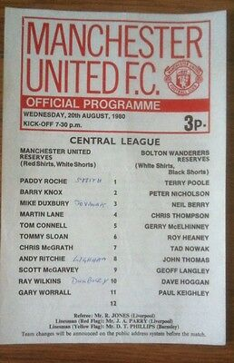 1980/81  Manchester  United  Reserves  V.  Bolton Wanderers  Central League