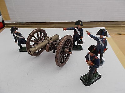 1.32 Painted  Metal Model French  Cannon & 4 Artillery Crew
