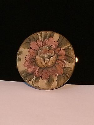 Vintage Upholstery Covered Compact Mirror Collectible
