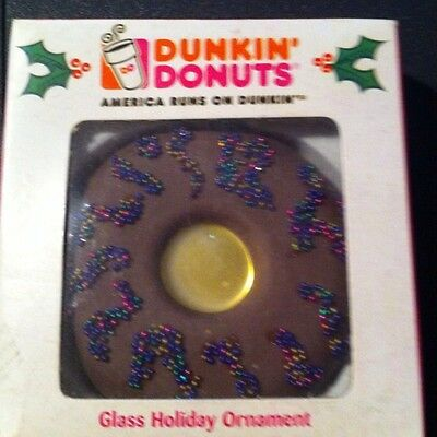 Dunkin Donuts Christmas Chocolate Glass Ornament
