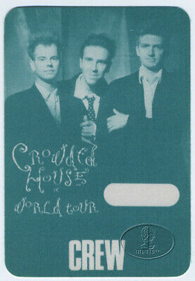 CROWDED HOUSE 1988 Backstage Pass Split Enz Neil Finn Crew Green